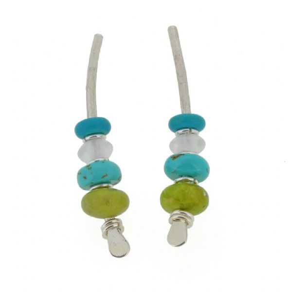 Blue and green, sterling silver medium arc shape